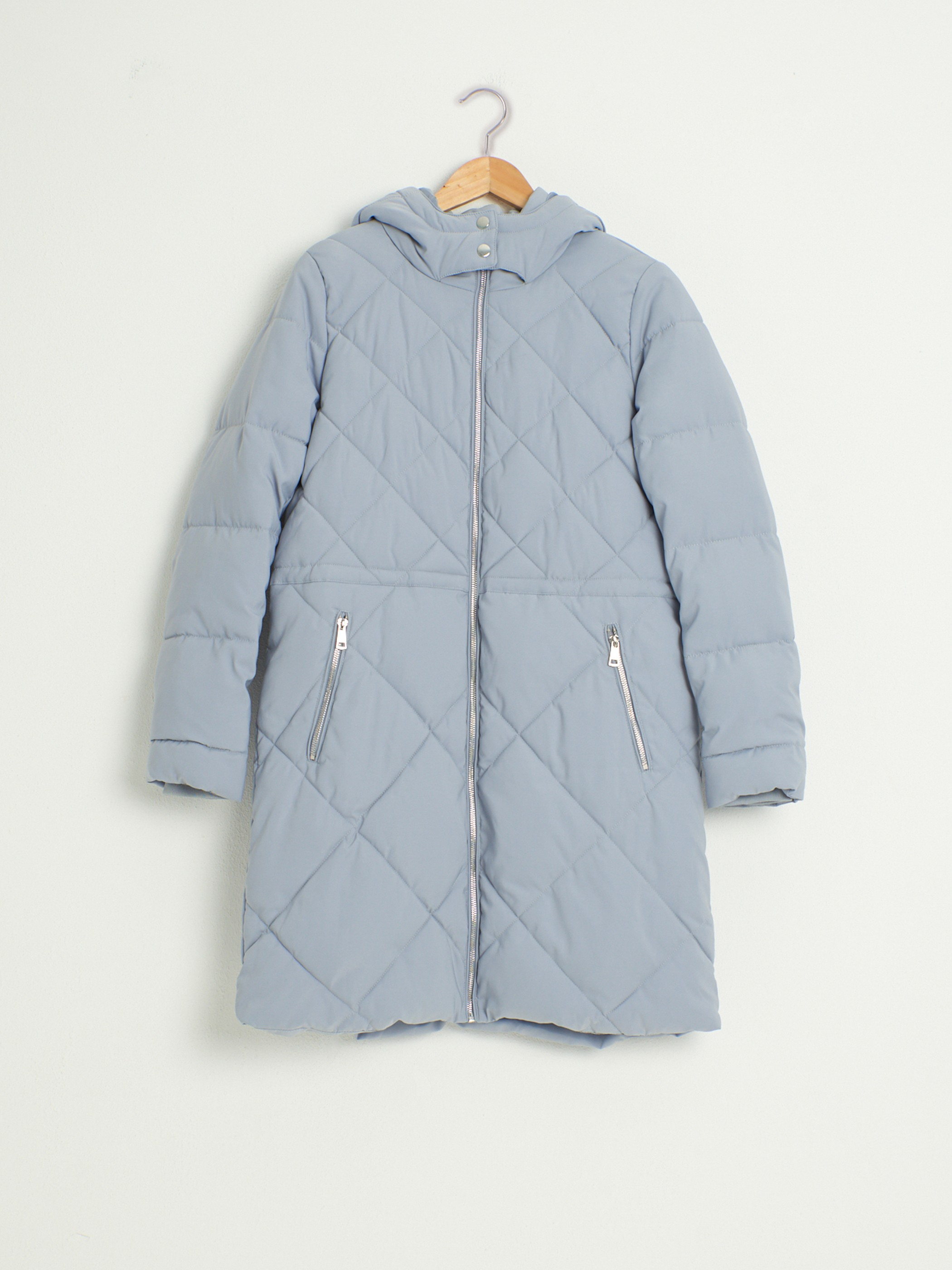 GREY - Quilted Figured Short Coat with Hood - 0W1772Z8