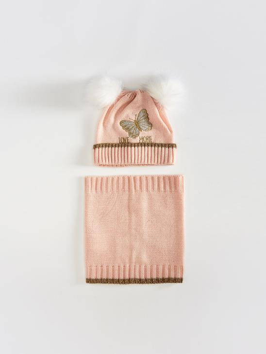 PINK - Girls' Embroidery Detailed Pompon Knitwear Beanie and Neck Collar - 0W5711Z4
