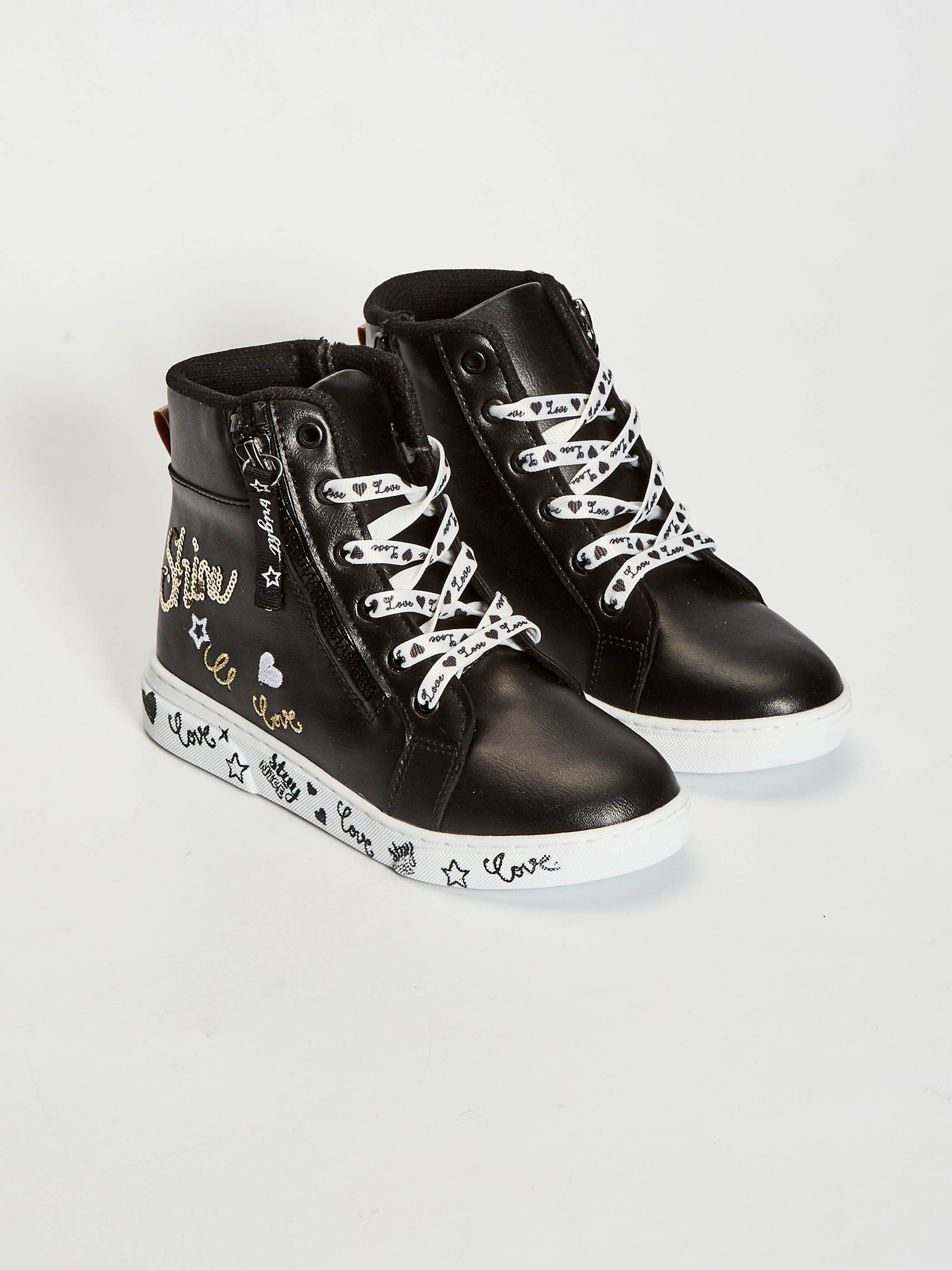 BLACK - Girl's Lace-up Sneakers - 0WHY31Z4