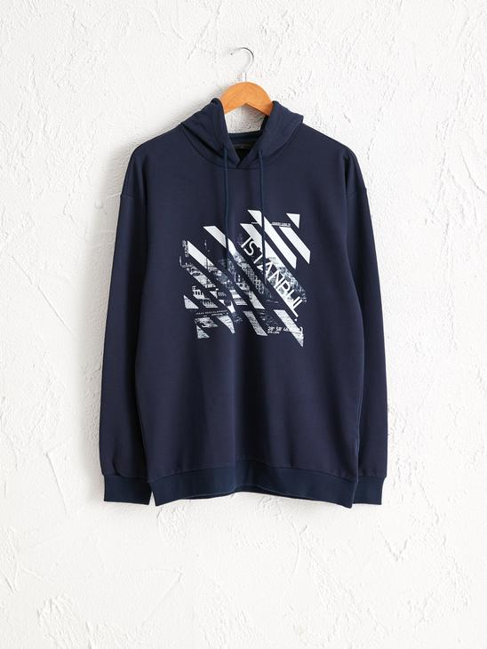 NAVY - Standard Pattern Hooded Istanbul Printed Sweatshirt Father and Son Matching - 0SU617Z8