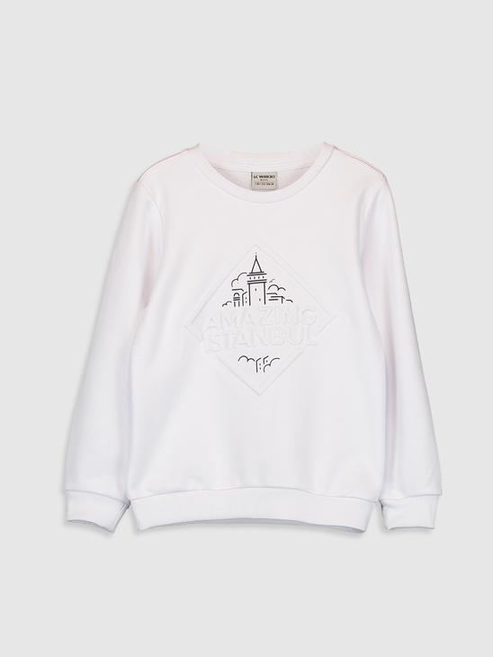 WHITE - Boy's Istanbul Themed Sweatshirt Father and Son Matching - 0SU311Z4