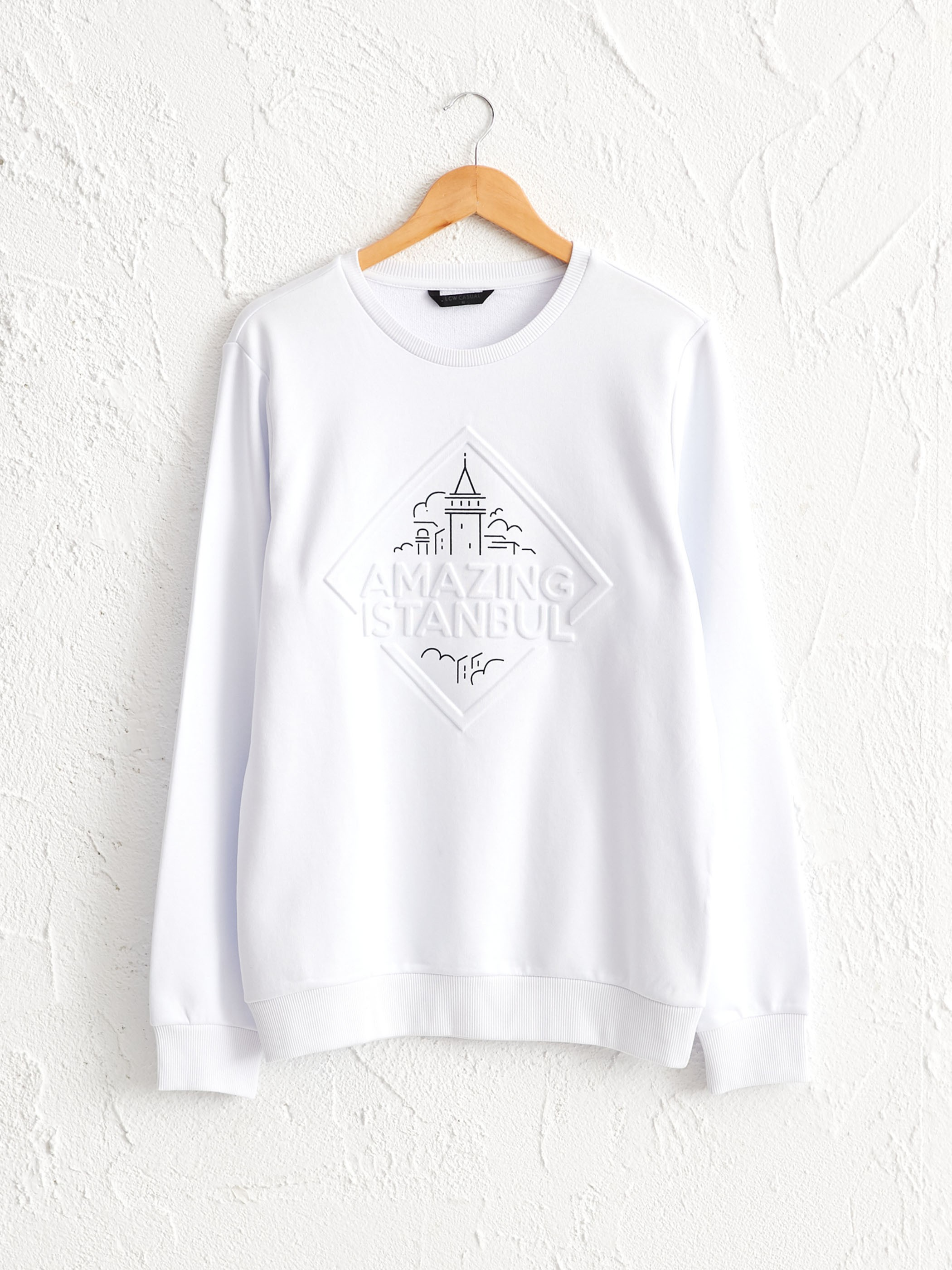 WHITE - Crew Neck Istanbul Printed Thin Sweatshirt Father and Son Matching - 0SU310Z8