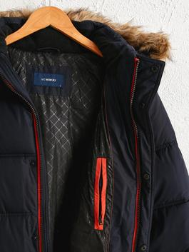 NAVY - Faux Fur Detailed Long Puffer with Hood - 0W9899Z8
