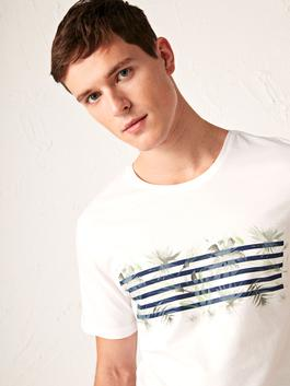WHITE - Crew Neck Printed Combed Cotton T-Shirt