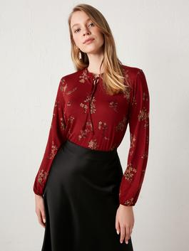 RED - Floral Viscose Blouse - S1BY22Z8