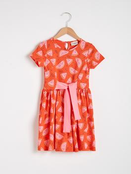 RED - Girl's Printed Cotton Dress