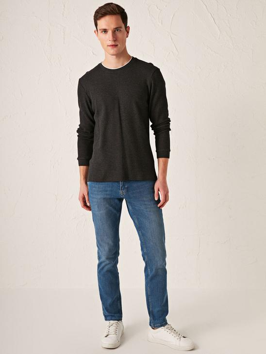ANTHRACITE - Crew Neck Long Sleeve T-Shirt - S11671Z8