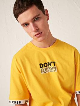 YELLOW - Oversize Crew Neck Printed Combed Cotton T-Shirt