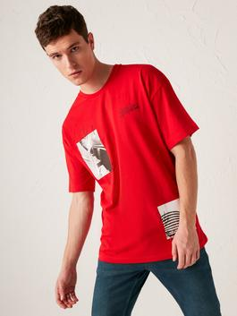 RED - Oversize Crew Neck Printed Combed Cotton T-Shirt