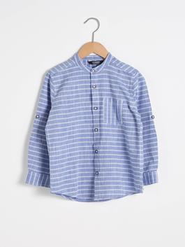 BLUE - Boy's Striped Poplin Shirt