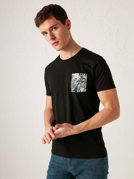 BLACK - Crew Neck Printed Combed Cotton T-Shirt