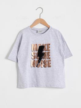 GREY - Girl's Printed Sequined T-Shirt