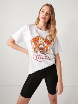 WHITE - Crew Neck Queen Printed T-Shirt
