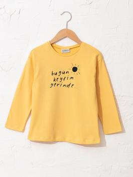YELLOW - Girl's Letter Printed Cotton T-Shirt