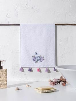 WHITE - Embroidery and Tasselled Hand Towel