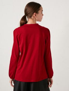 RED - Crew Neck Button Detailed Embroidered Blouse - S1BY23Z8
