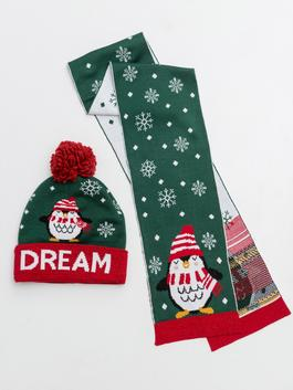 GREEN - Girl's Christmas Themed Beanie and Scarf