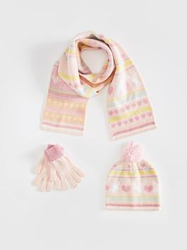 PINK - Girl's Tricot Beret, Gloves and Scarves
