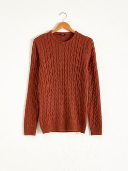 BROWN - Crew Neck Lightweight Tricot Jumper