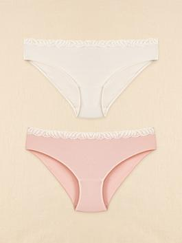 PINK - Organic Cotton Lace Detail Classic Briefs 2 Pieces