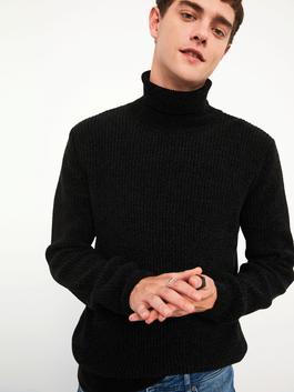 BLACK - XSIDE Turtleneck Thick Chenille Sweater