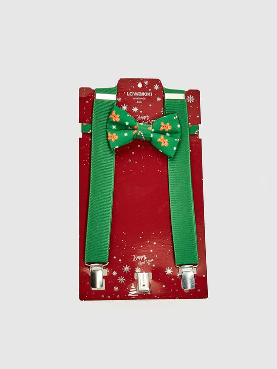 GREEN - Boy's Clip on Suspenders and Bowtie - 0WDB53Z4