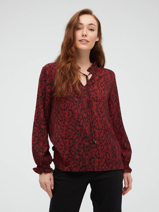 ORANGE - Tie Collar Detailed Patterned Blouse - S1BY31Z8