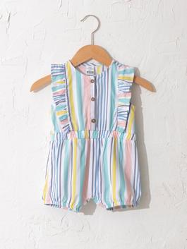 WHITE - Baby Girl's Striped Jumpsuit