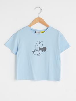 BLUE - Crew Neck Minnie Mouse Printed Short Sleeve Girls T-Shirt