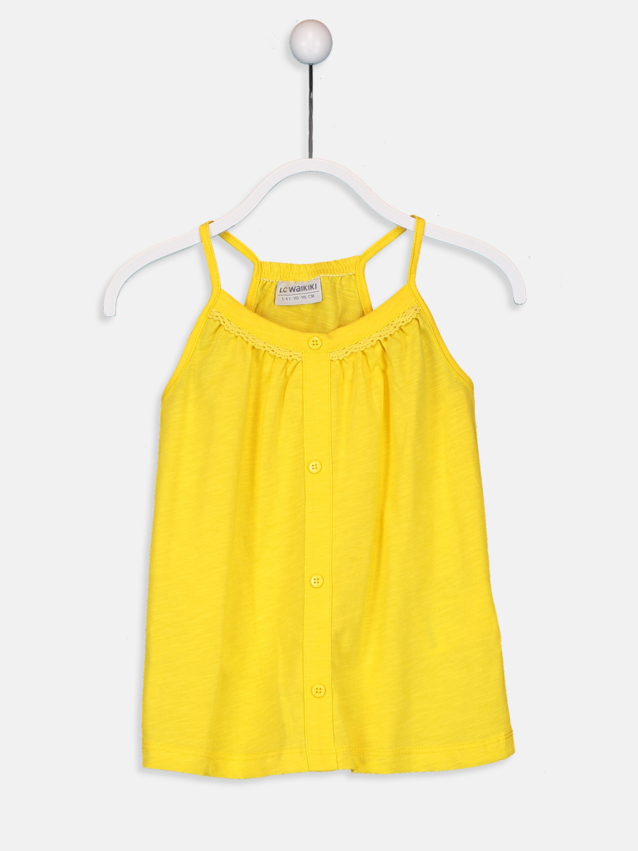 YELLOW - Girl's Cotton Tank Top with Button Detail - 9SA410Z4