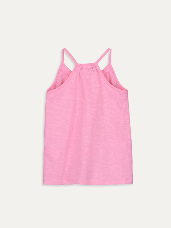 PINK - Girl's Cotton Tank Top with Button Detail - 9SA410Z4