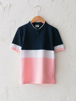 PINK - Judge Collar Color Block Short Sleeve Boy T-Shirt