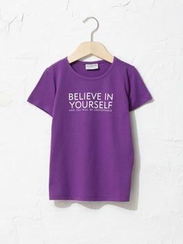 PURPLE - Crew Neck Printed Short Sleeve Girls T-Shirt