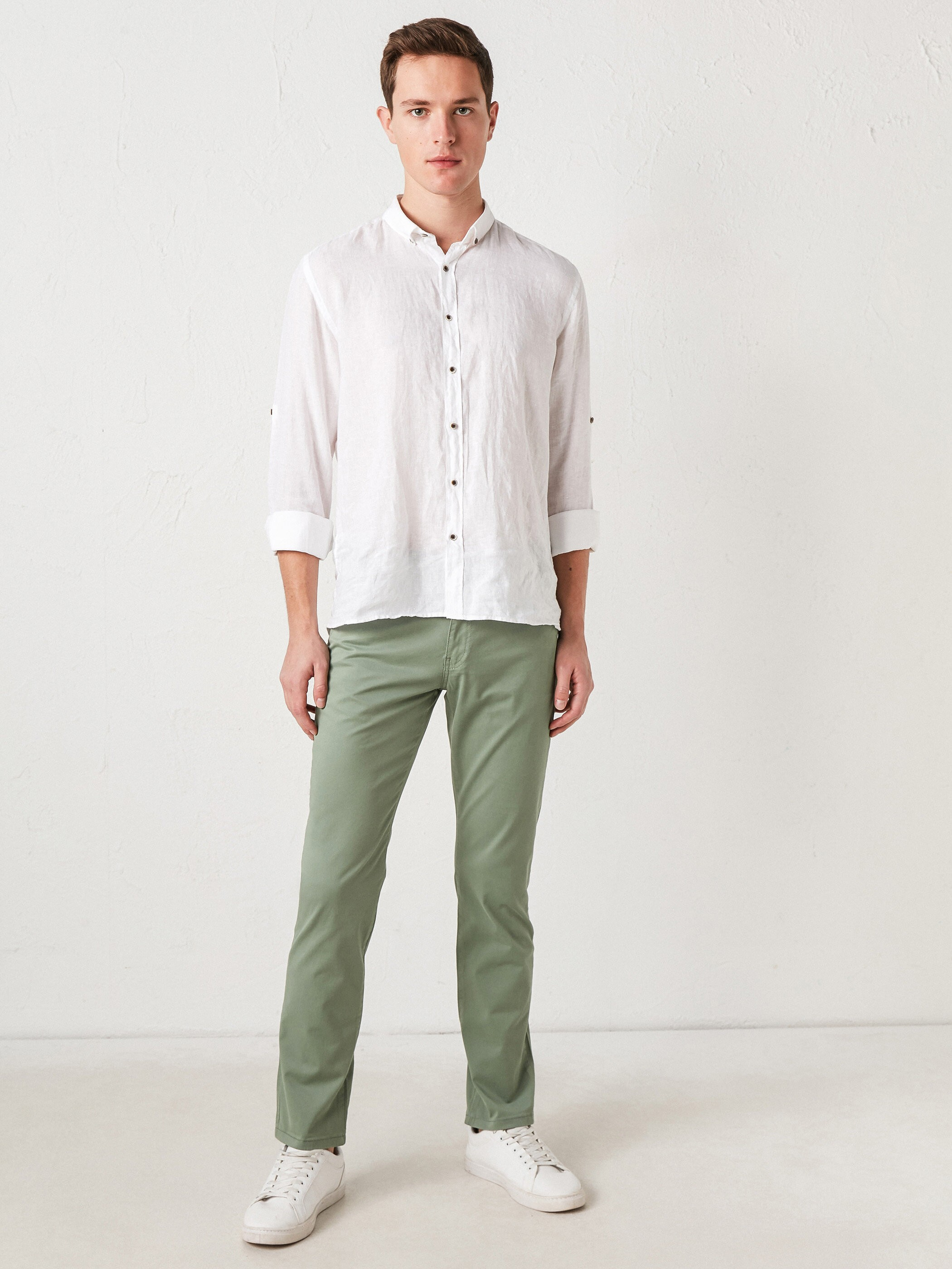 GREEN - Slim Fit Men's Chino Trousers - S11247Z8
