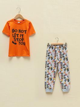 GREY - Crew Neck Printed Short Sleeve Organic Cotton Boy's Pajamas Set