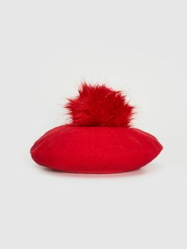 RED - Girl's Beret with Pompoms