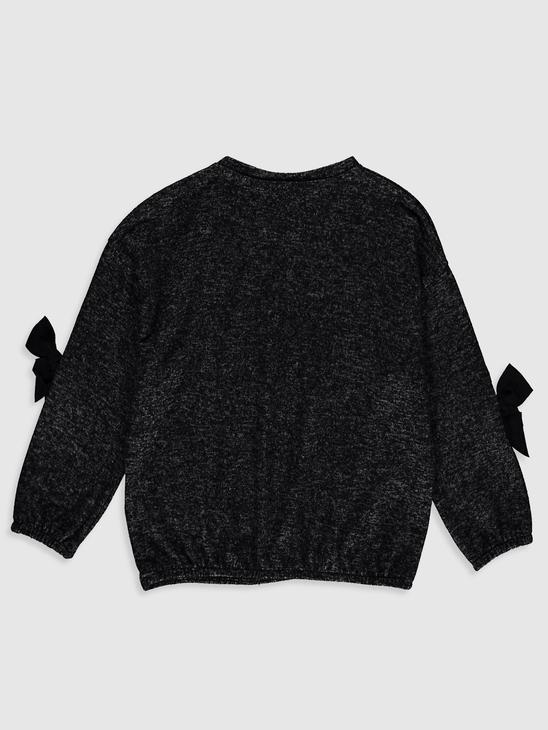 ANTHRACITE - Girl's Bow Knot Detailed Sweatshirt - 0W9403Z4
