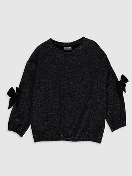 ANTHRACITE - Girl's Bow Knot Detailed Sweatshirt