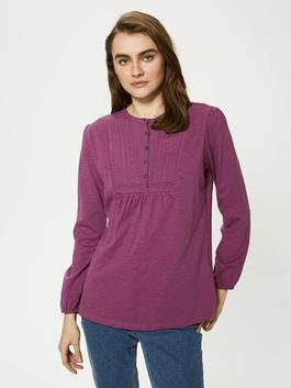 PLUM - Crew Neck Button Detailed Embroidered Blouse - S1BY23Z8