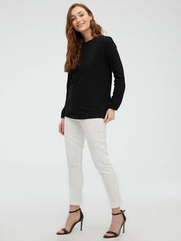 BLACK - Crew Neck Button Detailed Embroidered Blouse - S1BY23Z8
