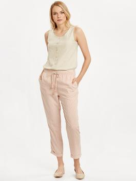 PINK - High Waist Ankle Length Striped Linen Trousers For Women