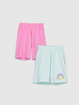 TURQUOISE - 2-pack Girl's Cotton Shorts