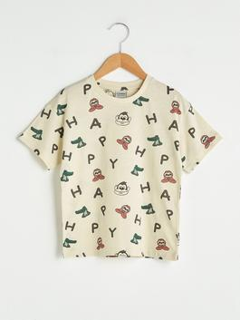 CORAL - Crew Neck Printed Short Sleeve Cotton Boy T-Shirt - S1H311Z4