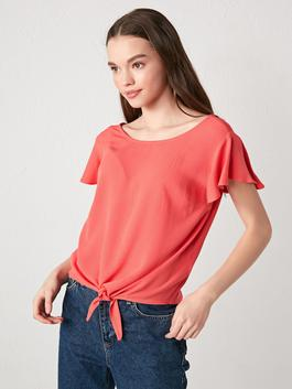 CORAL - Crew Neck Straight Short Sleeve Viscose Women Blouse