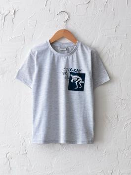 GREY - Crew Neck Printed Short Sleeve Boy T-Shirt With Pocket Detail - S10526Z4