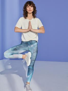 BLUE - Elastic Waist Patterned Active Sports Women Leggings