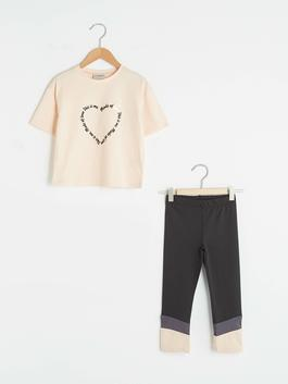 PINK - Crew Neck Printed Short Sleeve Girls T-Shirt and Tights
