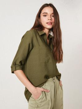 GREEN - Long Sleeve Straight Poplin Shirt