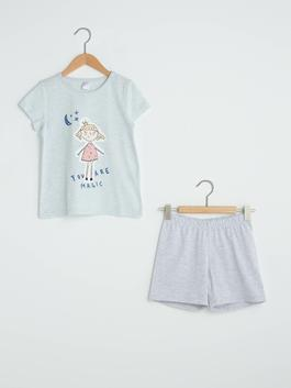 BLUE - Crew Neck Printed Short Sleeve Girls Pajamas Set