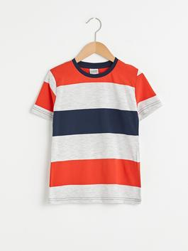 RED - Crew Neck Striped Short Sleeve Boy T-Shirt